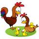 Rooster, Hen and Chickens Cartoon - GraphicRiver Item for Sale
