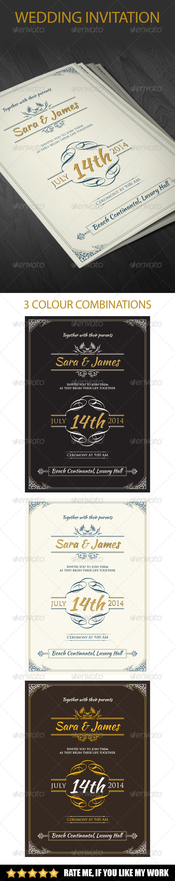 GraphicRiver Vintage Wedding Invitation 7938879