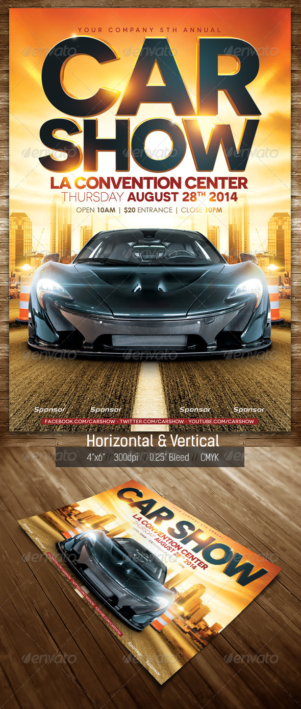 Car Show Flyer Street Horizontal & Vertical