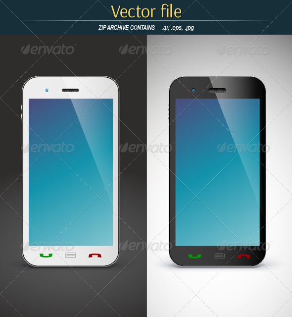 GraphicRiver Mobile Phone on Black and White Background 7939247