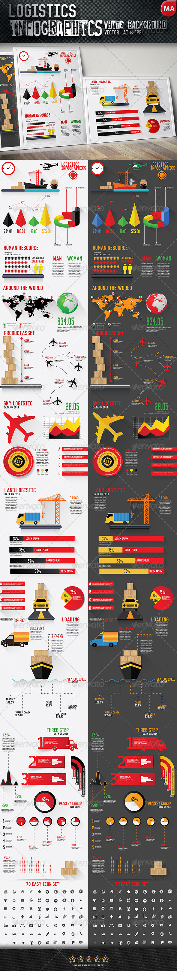 GraphicRiver Logistics Infographics Black & White Background 7939707