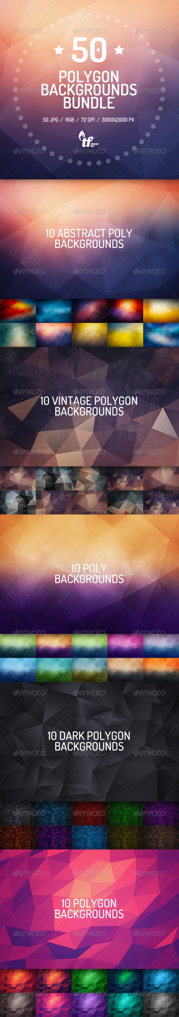 GraphicRiver 50 Polygon Backgrounds Bundle 7939894