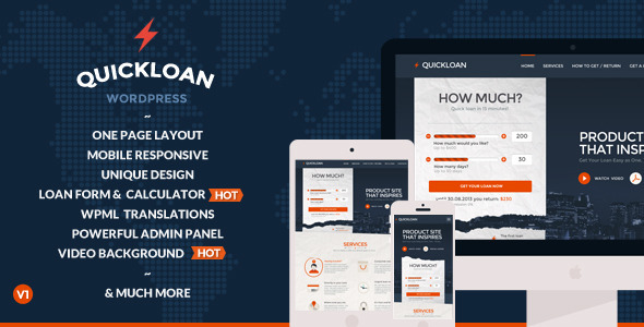 QuickLoan - Responsive Wordpress One Page Theme - Business Corporate