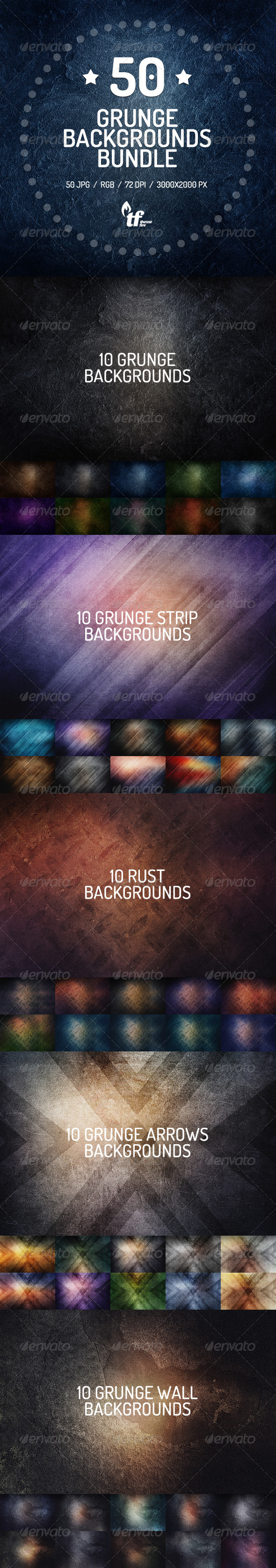 GraphicRiver 50 Grunge Backgrounds Bundle 7940196