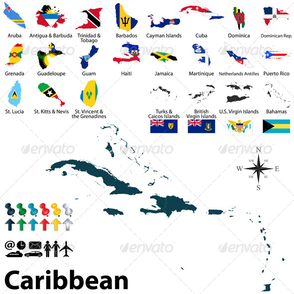 GraphicRiver Political Map of Caribbean 7940214