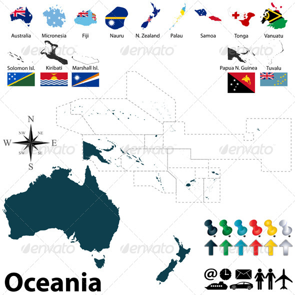 GraphicRiver Political Map of Oceania 7940217
