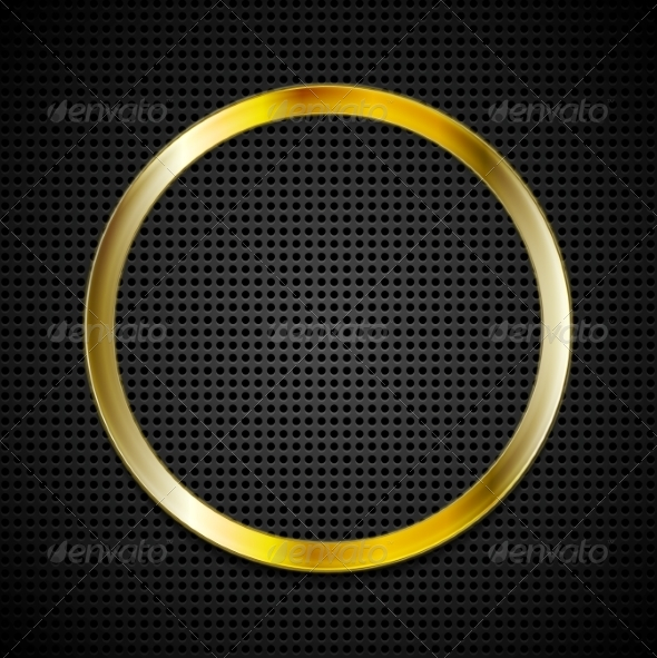 GraphicRiver Bright Golden Ring on Perforated Texture 7940241