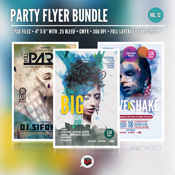 GraphicRiver Party Flyer Bundle Vol 12 7940573