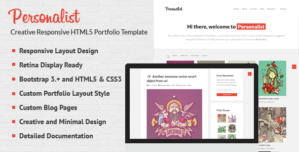 ThemeForest Personalist Creative Portfolio HTML5 Template 7941145