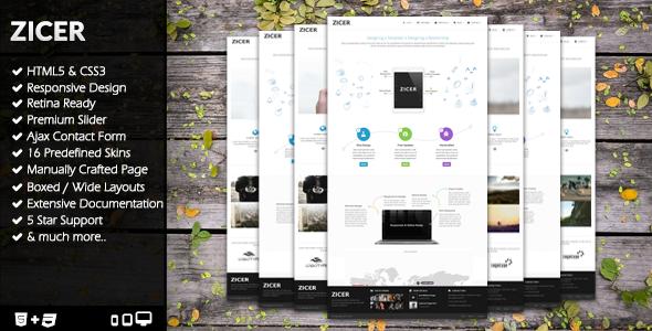 Zicer - Responsive Retina HTML5/CSS3 Template  - Creative Site Templates