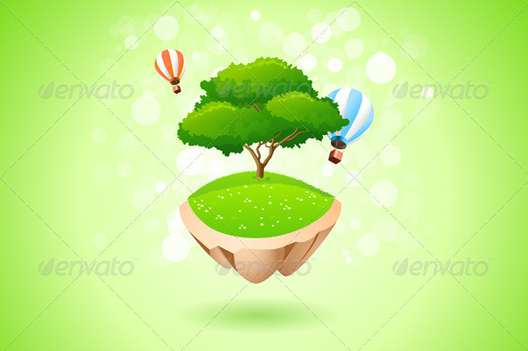 GraphicRiver Green Lonely Tree on Flying Island 7941670