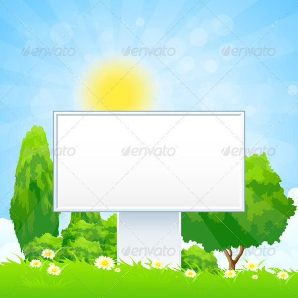 GraphicRiver Empty Billboard in the Grass 7941671