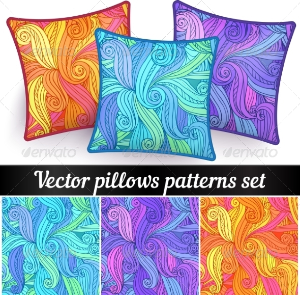 GraphicRiver Vector Abstract Curls Pillows Patterns 7941672