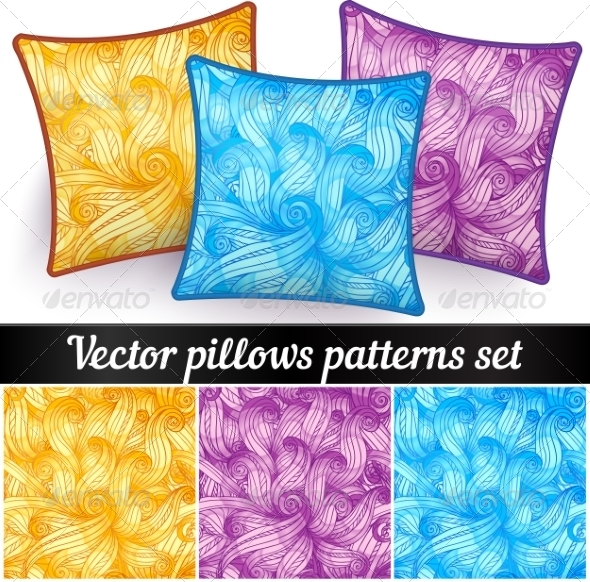 GraphicRiver Vector Abstract Curls Pillows Patterns 7941678