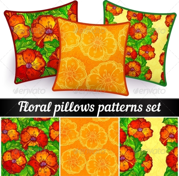 GraphicRiver Floral Pillows Vector Seamless Patterns Set 7941692