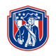 American Patriot Holding Bayonet Rifle Shield Retro - GraphicRiver Item for Sale