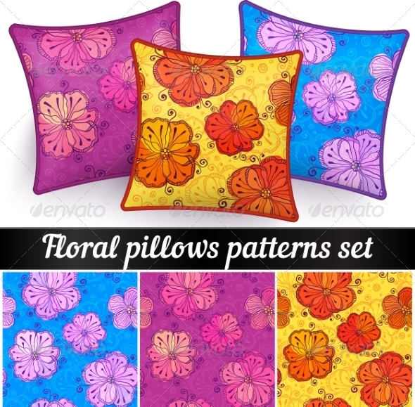 GraphicRiver Floral Pillows Vector Seamless Patterns Set 7941700