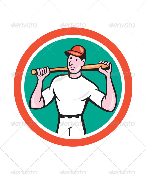 GraphicRiver Baseball Player Holding Bat Cartoon 7941702