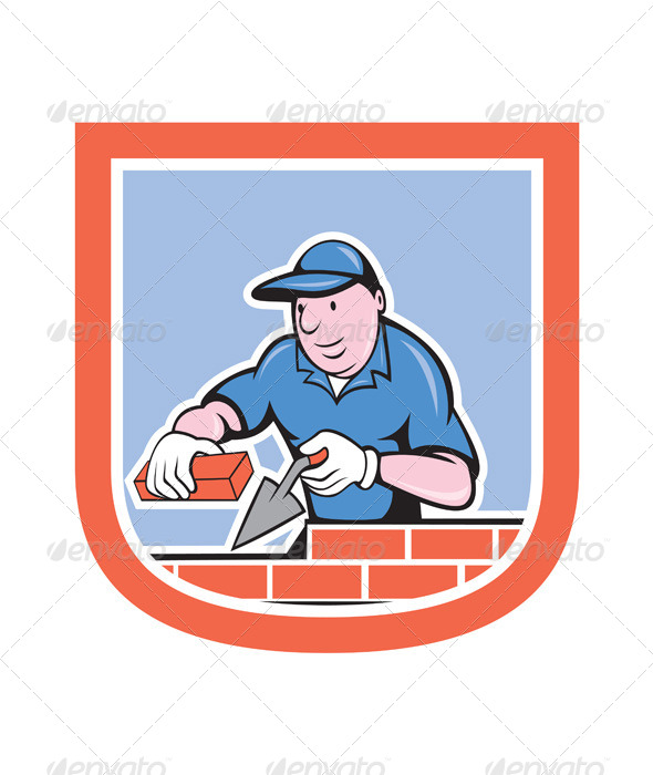 GraphicRiver Bricklayer Mason Plasterer Worker Cartoon 7941707