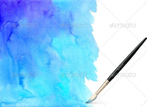 GraphicRiver Realistic Vector Brush on Watercolor Background 7941708