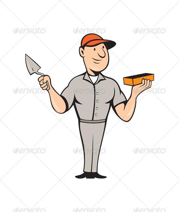 GraphicRiver Bricklayer Mason Plasterer Standing Cartoon 7941709