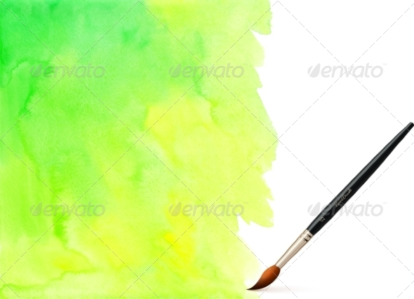 GraphicRiver Green Watercolor Vector Background 7941712