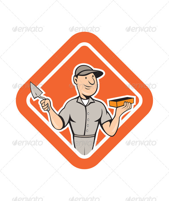 GraphicRiver Bricklayer Mason Plasterer Standing Shield Cartoon 7941713