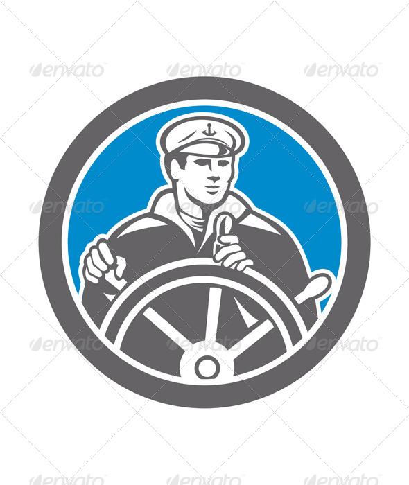 GraphicRiver Fisherman Sea Captain Circle Retro 7941717