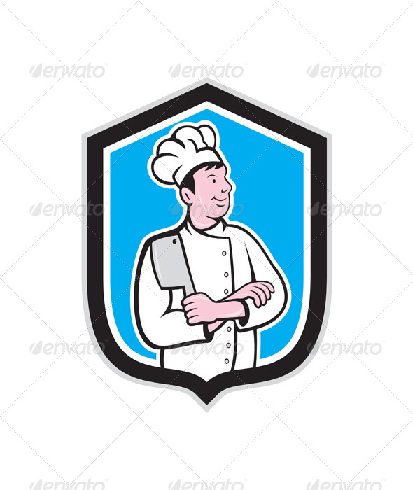 Chef Cook Holding Knife Arms Crossed Cartoon