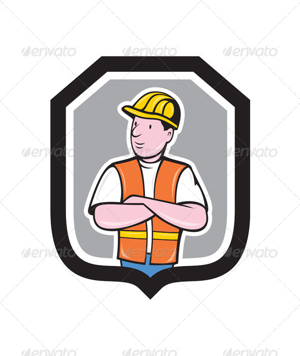 GraphicRiver Construction Worker Arms Crossed Shield Cartoon 7941726