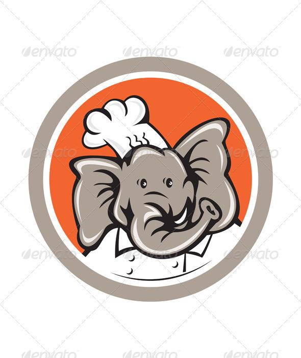 GraphicRiver Elephant Chef Head Cartoon 7941727