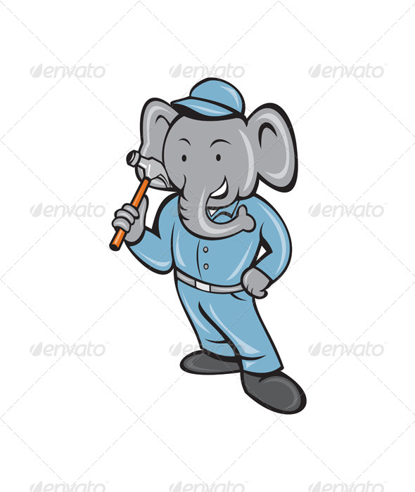GraphicRiver Elephant Builder Holding Hammer Cartoon 7941732