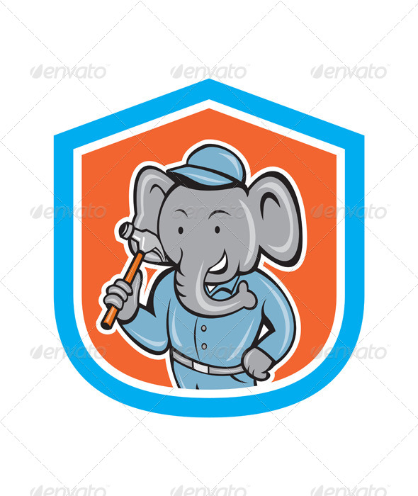 GraphicRiver Elephant Builder Holding Hammer Crest Cartoon 7941733