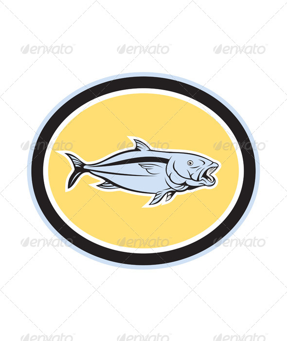 GraphicRiver Kingfish Cartoon Oval 7941747