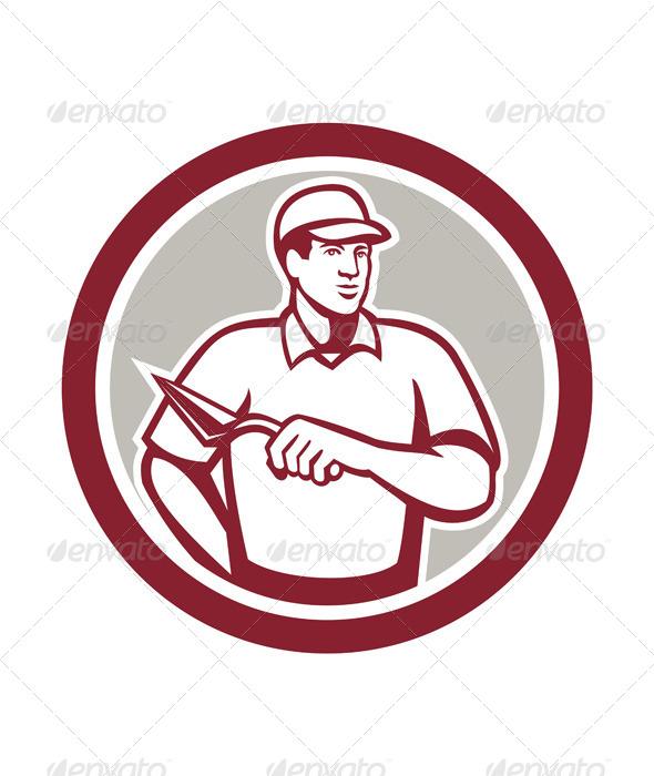 GraphicRiver Tiler Plasterer Mason Masonry Worker Circle 7941755