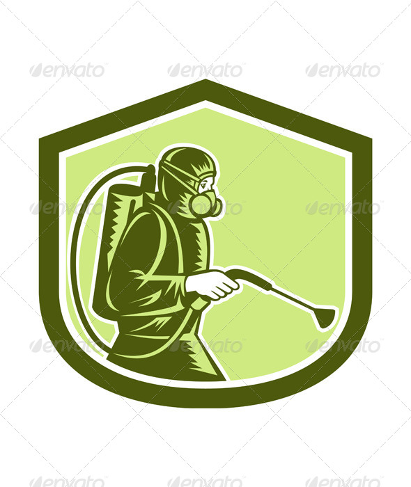 GraphicRiver Pest Control Exterminator Spraying Shield Retro 7941763