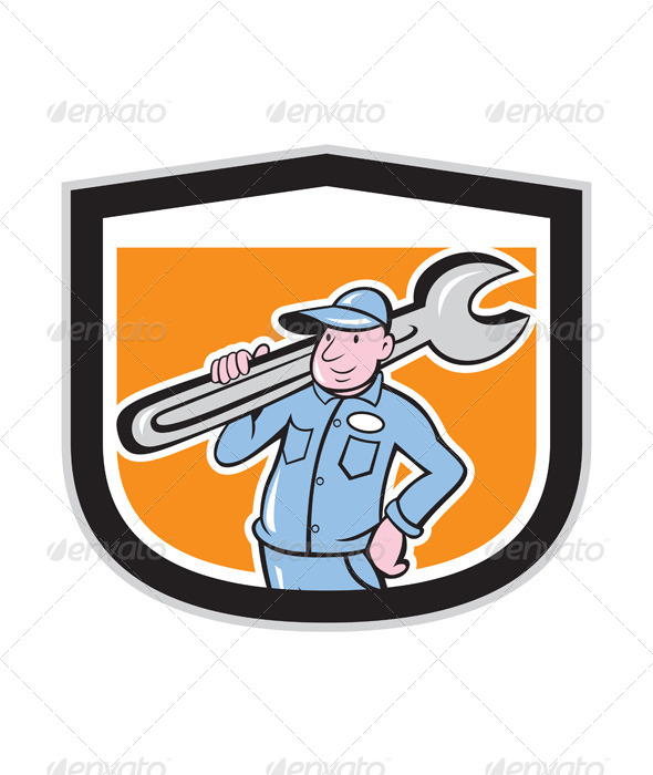 GraphicRiver Plumber Holding Wrench Shield Cartoon 7941768