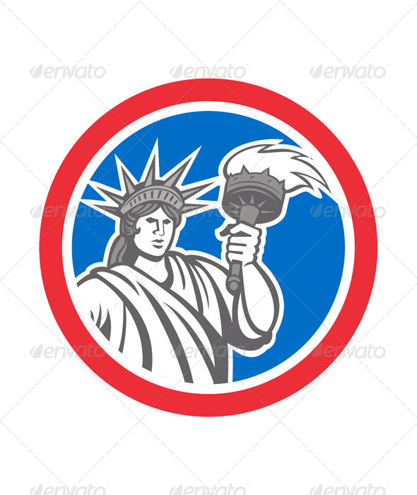 GraphicRiver Statue of Liberty Holding Flaming Torch Circle 7941772