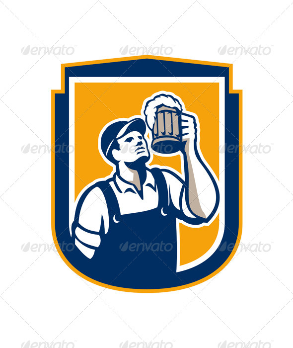 GraphicRiver Bartender Toast Beer Mug Shield Retro 7941805