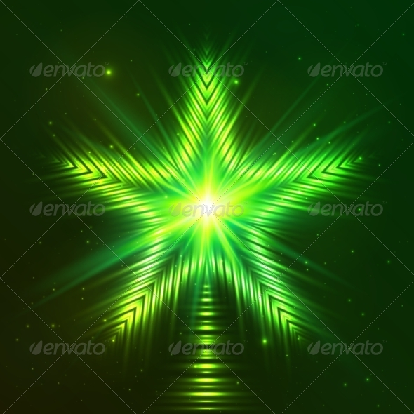 GraphicRiver Green Shining Five-Pointed Star 7941838