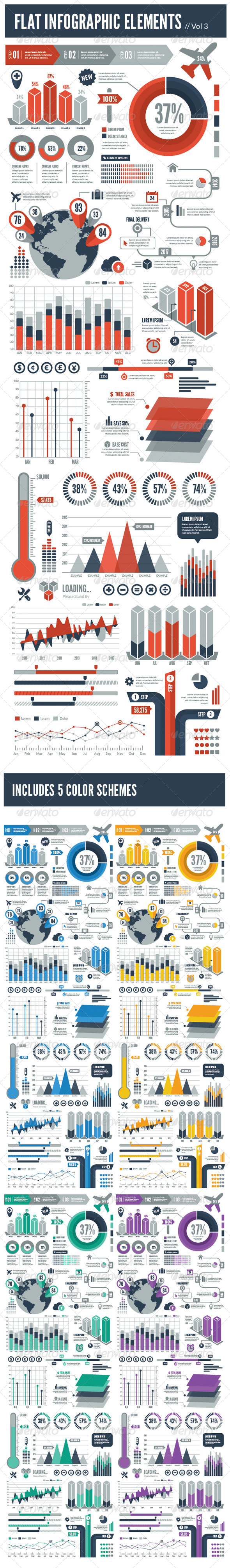 GraphicRiver Flat Vector Infographic Elements Vol 3 7942030