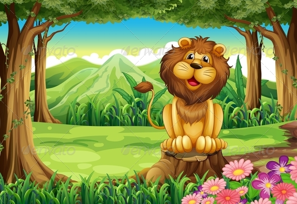 GraphicRiver A Smiling King Lion above the Stump 7942962