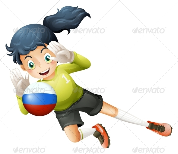 GraphicRiver A Smiling Lady Using the Ball with the Russian Flag 7942967