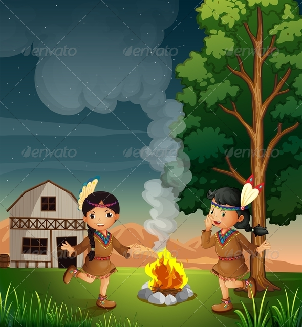 Two Little Indians with a Campfire