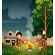 Two Little Indians with a Campfire - GraphicRiver Item for Sale