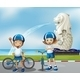 Two Cute Bikers Standing in the Front of the Merli - GraphicRiver Item for Sale