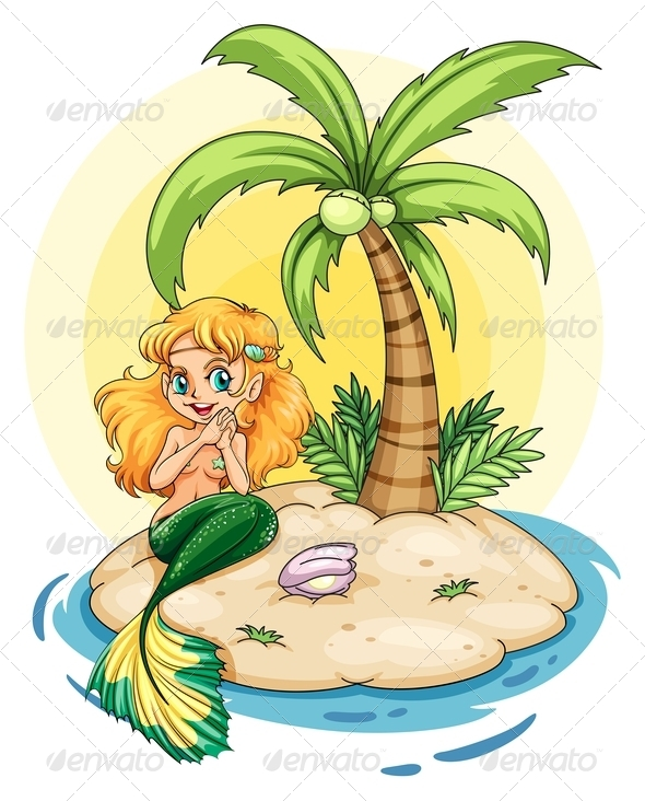 GraphicRiver An Island with a Smiling Mermaid 7943005