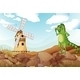 A Smiling Lizard Across the Wooden Windmill - GraphicRiver Item for Sale