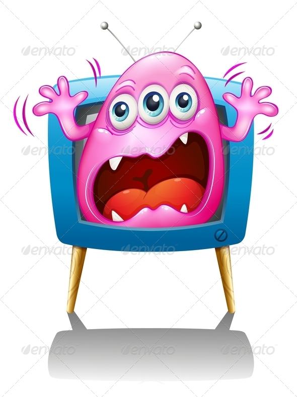 GraphicRiver A TV with a Pink Monster Screaming 7943016