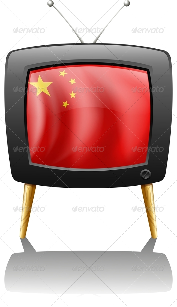GraphicRiver A TV with the Flag of China 7943019